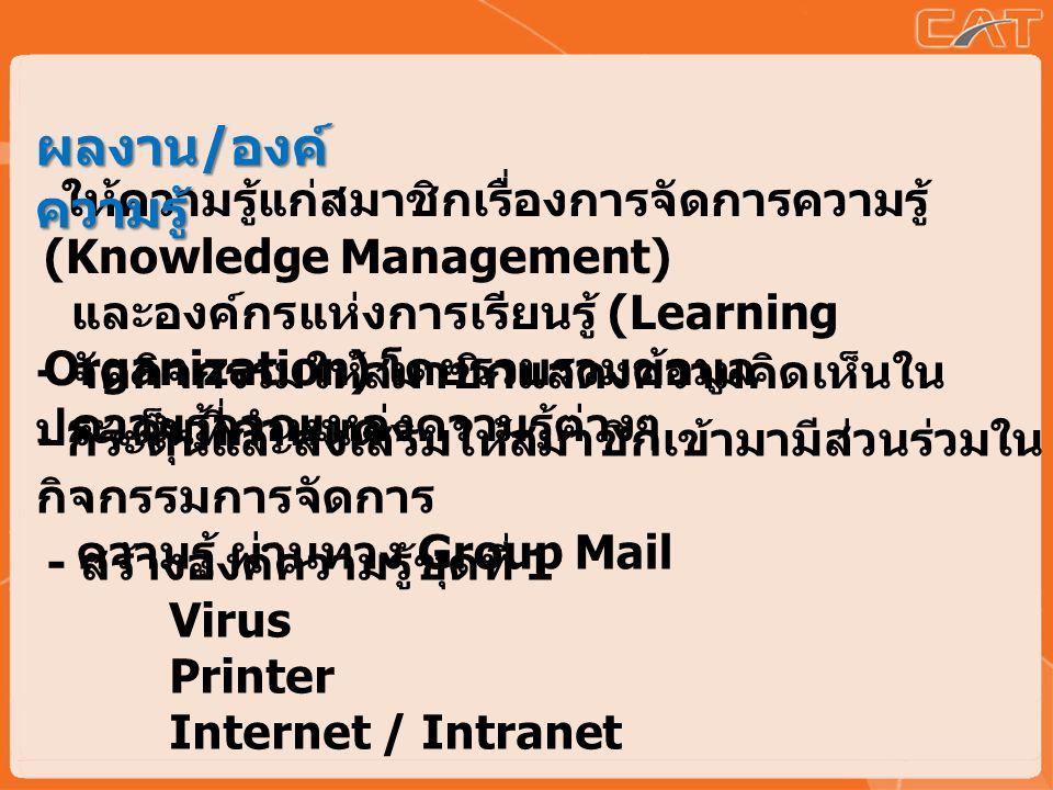 - กระตุ้นและส่งเสริมให้สมาชิกเข้ามามีส่วนร่วมใน กิจกรรมการจัดการ ความรู้ ผ่านทาง Group Mail - ให้ความรู้แก่สมาชิกเรื่องการจัดการความรู้ (Knowledge Management) และองค์กรแห่งการเรียนรู้ (Learning Organization) โดยรวบรวมข้อมูล ความรู้จากแหล่งความรู้ต่างๆ - จัดกิจกรรมให้สมาชิกแสดงความคิดเห็นใน ประเด็นที่กำหนด - สร้างองค์ความรู้ชุดที่ 1 Virus Printer Internet / Intranet ผลงาน / องค์ ความรู้