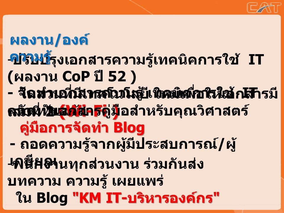 - ปรับปรุงเอกสารความรู้เทคนิคการใช้ IT ( ผลงาน CoP ปี 52 ) ในส่วนที่มีเทคโนโลยี ใหม่เพื่อให้เอกสารมี ความทันสมัย (Wi-Fi ) - จัดทำเอกสารความรู้ เทคนิคการใช้ IT เล่มที่ 2 (Wi-Fi ) - พนักงานทุกส่วนงาน ร่วมกันส่ง บทความ ความรู้ เผยแพร่ KM IT- บริหารองค์กร ใน Blog KM IT- บริหารองค์กร - จัดทำเอกสารคู่มือสำหรับคุณวิศาสตร์ คู่มือการจัดทำ Blog - ถอดความรู้จากผู้มีประสบการณ์ / ผู้ เกษียณ ผลงาน / องค์ ความรู้