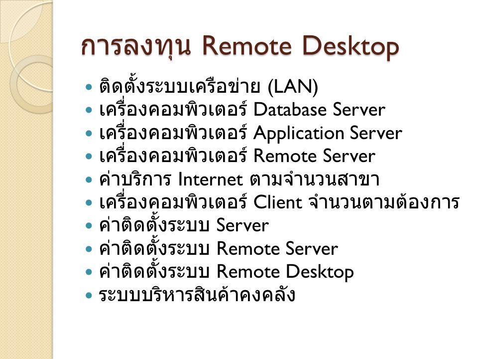 การลงทุน Remote Desktop ติดตั้งระบบเครือข่าย (LAN) เครื่องคอมพิวเตอร์ Database Server เครื่องคอมพิวเตอร์ Application Server เครื่องคอมพิวเตอร์ Remote