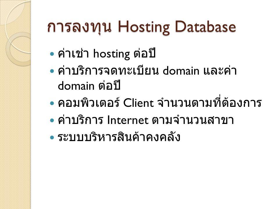การลงทุน Hosting Database ค่าเช่า hosting ต่อปี ค่าบริการจดทะเบียน domain และค่า domain ต่อปี คอมพิวเตอร์ Client จำนวนตามที่ต้องการ ค่าบริการ Internet