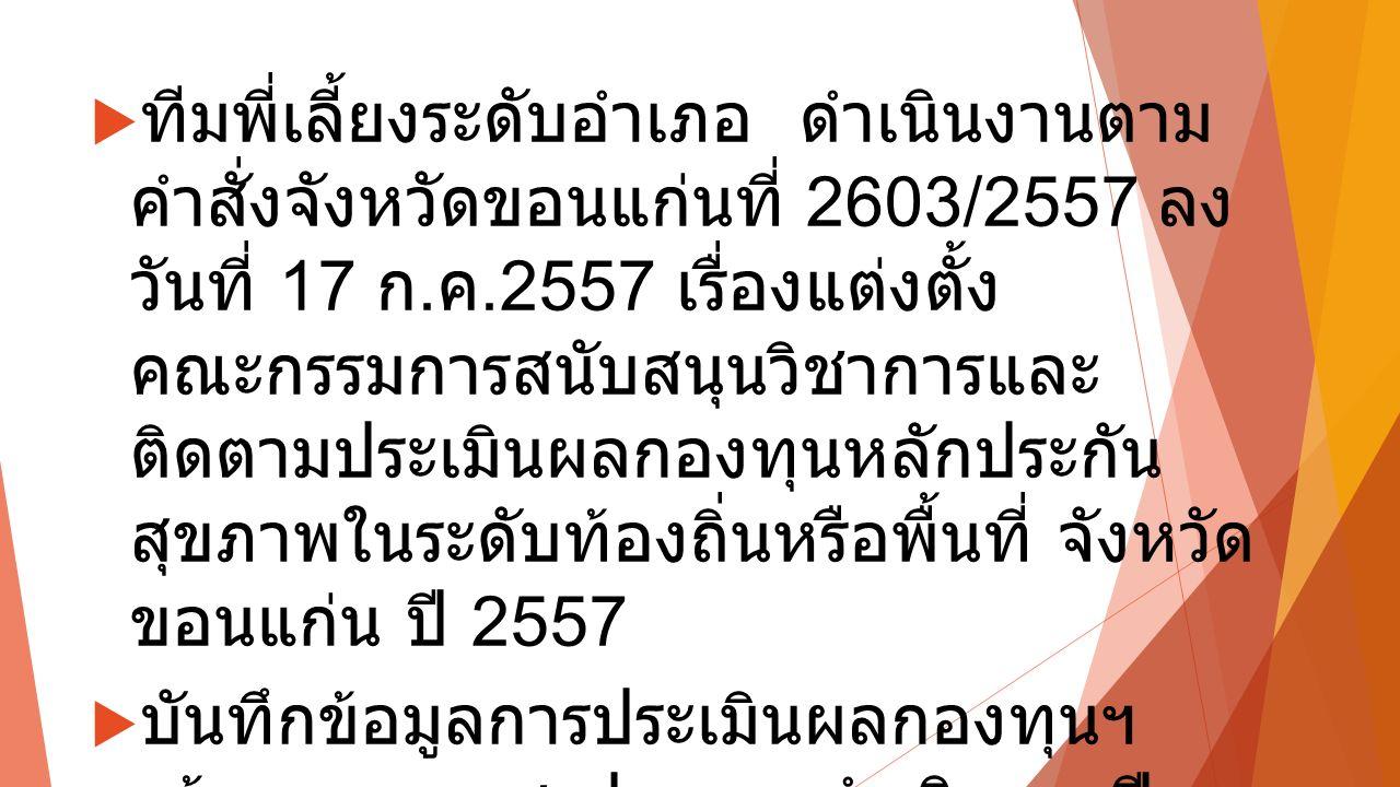  ทีมพี่เลี้ยงระดับอำเภอ ดำเนินงานตาม คำสั่งจังหวัดขอนแก่นที่ 2603/2557 ลง วันที่ 17 ก.