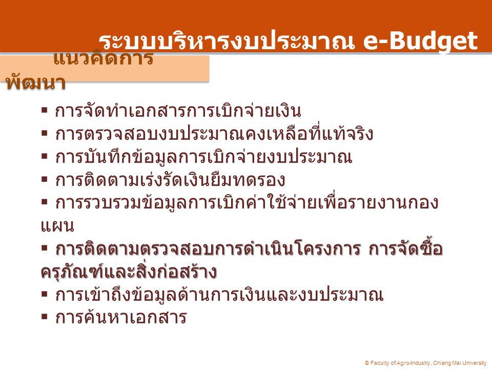 © Faculty of Agro-Industry, Chiang Mai University ระบบบริหารงบประมาณ e-Budget  การจัดทำเอกสารการเบิกจ่ายเงิน  การตรวจสอบงบประมาณคงเหลือที่แท้จริง 