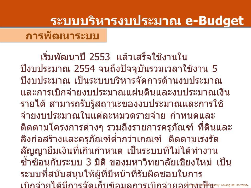 ระบบบริหารงบประมาณ e-Budget การพัฒนาระบบ © Faculty of Agro-Industry, Chiang Mai University เริ่มพัฒนาปี 2553 แล้วเสร็จใช้งานใน ปีงบประมาณ 2554 จนถึงปั