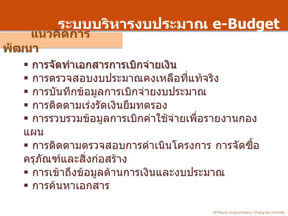 © Faculty of Agro-Industry, Chiang Mai University ระบบบริหารงบประมาณ e-Budget การจัดทำเอกสารการเบิกจ่ายเงิน  การจัดทำเอกสารการเบิกจ่ายเงิน  การตรวจสอบงบประมาณคงเหลือที่แท้จริง  การบันทึกข้อมูลการเบิกจ่ายงบประมาณ  การติดตามเร่งรัดเงินยืมทดรอง  การรวบรวมข้อมูลการเบิกค่าใช้จ่ายเพื่อรายงานกอง แผน  การติดตามตรวจสอบการดำเนินโครงการ การจัดซื้อ ครุภัณฑ์และสิ่งก่อสร้าง  การเข้าถึงข้อมูลด้านการเงินและงบประมาณ  การค้นหาเอกสาร แนวคิดการ พัฒนา
