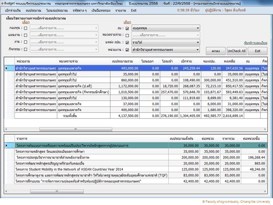 ระบบบริหารงบประมาณ e-Budget  การจัดทำเอกสารการเบิกจ่ายเงิน  การตรวจสอบงบประมาณคงเหลือที่แท้จริง การบันทึกข้อมูลการเบิกจ่ายงบประมาณ  การบันทึกข้อมูลการเบิกจ่ายงบประมาณ  การติดตามเร่งรัดเงินยืมทดรอง  การรวบรวมข้อมูลการเบิกค่าใช้จ่ายเพื่อรายงานกอง แผน  การติดตามตรวจสอบการดำเนินโครงการ การจัดซื้อ ครุภัณฑ์และสิ่งก่อสร้าง  การเข้าถึงข้อมูลด้านการเงินและงบประมาณ  การค้นหาเอกสาร แนวคิดการ พัฒนา
