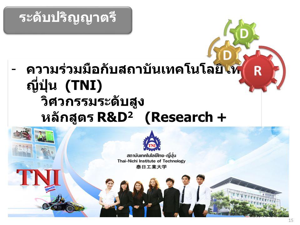 15 - ความร่วมมือกับสถาบันเทคโนโลยีไทย - ญี่ปุ่น (TNI) วิศวกรรมระดับสูง หลักสูตร R&D 2 (Research + Development + Design) เน้น Process Design Innovation