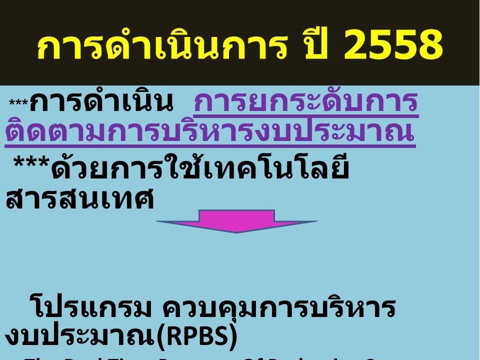 การดำเนินการ ปี 2558 *** การดำเนิน การยกระดับการ ติดตามการบริหารงบประมาณ *** ด้วยการใช้เทคโนโลยี สารสนเทศ โปรแกรม ควบคุมการบริหาร งบประมาณ (RPBS) The Real Time Program Of Budgeting Status