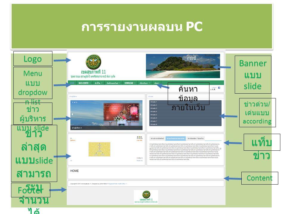 การรายงานผลบน PC Logo Banner แบบ slide Menu แบบ dropdow n list ข่าว ผู้บริหาร แบบ slide ข่าวด่วน / เด่นแบบ according ข่าว ล่าสุด แบบ slide สามารถ ระบุ จำนวน ได้ Content Footer แท็บ ข่าว ค้นหา ข้อมูล ภายในเว็บ