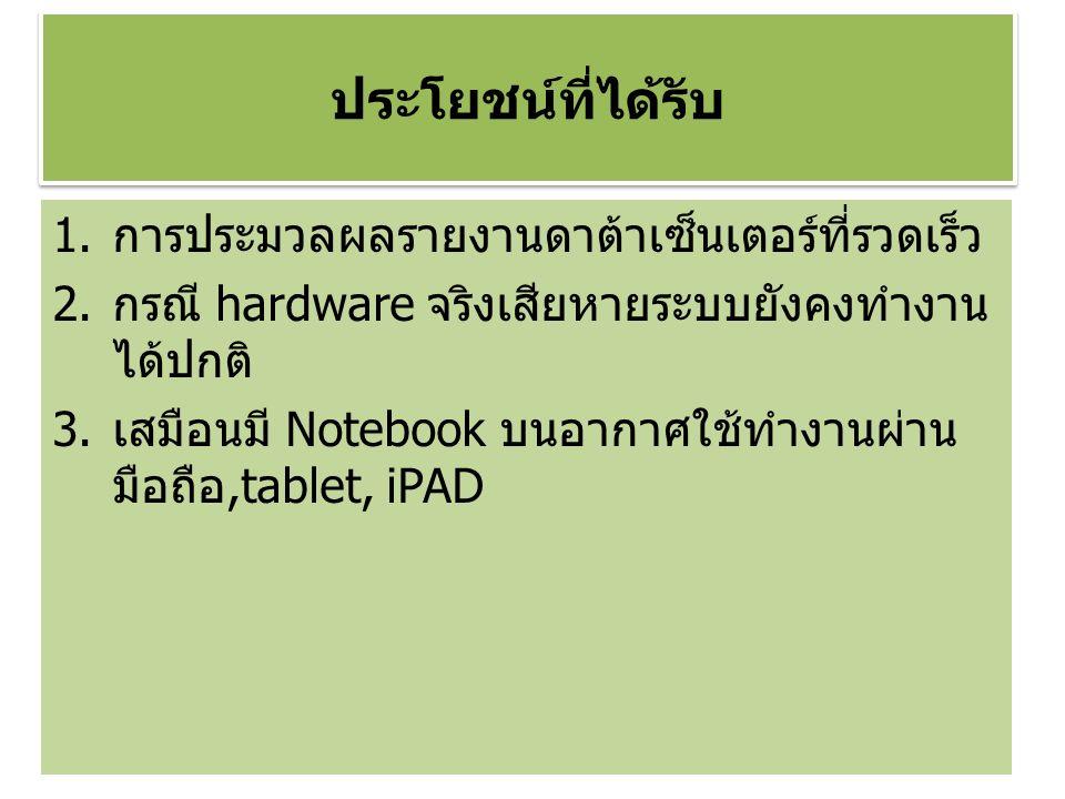 ประโยชน์ที่ได้รับ 1.การประมวลผลรายงานดาต้าเซ็นเตอร์ที่รวดเร็ว 2.กรณี hardware จริงเสียหายระบบยังคงทำงาน ได้ปกติ 3.เสมือนมี Notebook บนอากาศใช้ทำงานผ่าน มือถือ,tablet, iPAD