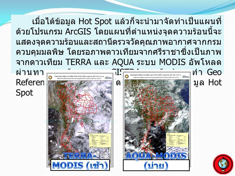 เมื่อได้ข้อมูล Hot Spot แล้วก็จะนำมาจัดทำเป็นแผนที่ ด้วยโปรแกรม ArcGIS โดยแผนที่ตำแหน่งจุดความร้อนนี้จะ แสดงจุดความร้อนและสถานีตรวจวัดคุณภาพอากาศจากกรม ควบคุมมลพิษ โดยรอภาพดาวเทียมจากศรีราชาซึ่งเป็นภาพ จากดาวเทียม TERRA และ AQUA ระบบ MODIS อัพโหลด ผ่านทางฐานข้อมูลของ GISTDA แล้วนำมาทำ Geo Referencing ก่อนนำมาใช้จัดทำแผนที่ร่วมกับข้อมูล Hot Spot