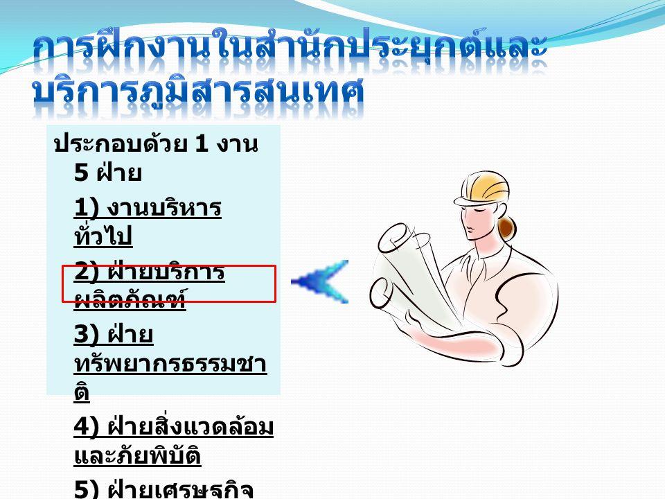 ประกอบด้วย 1 งาน 5 ฝ่าย 1) งานบริหาร ทั่วไป 2) ฝ่ายบริการ ผลิตภัณฑ์ 3) ฝ่าย ทรัพยากรธรรมชา ติ 4) ฝ่ายสิ่งแวดล้อม และภัยพิบัติ 5) ฝ่ายเศรษฐกิจ 6) ฝ่ายภ