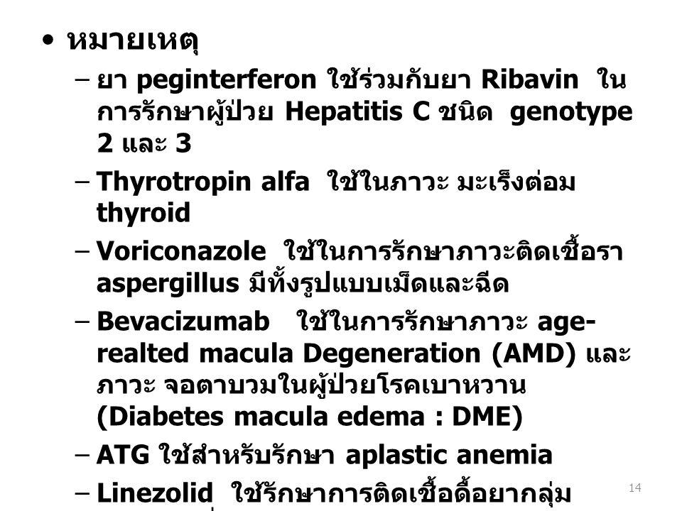 หมายเหตุ – ยา peginterferon ใช้ร่วมกับยา Ribavin ใน การรักษาผู้ป่วย Hepatitis C ชนิด genotype 2 และ 3 –Thyrotropin alfa ใช้ในภาวะ มะเร็งต่อม thyroid –