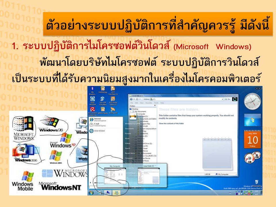 ตัวอย่างระบบปฏิบัติการที่สำคัญควรรู้ มีดังนี้ 1. ระบบปฏิบัติการไมโครซอฟต์วินโดวส์ (Microsoft Windows) พัฒนาโดยบริษัทไมโครซอฟต์ ระบบปฏิบัติการวินโดวส์