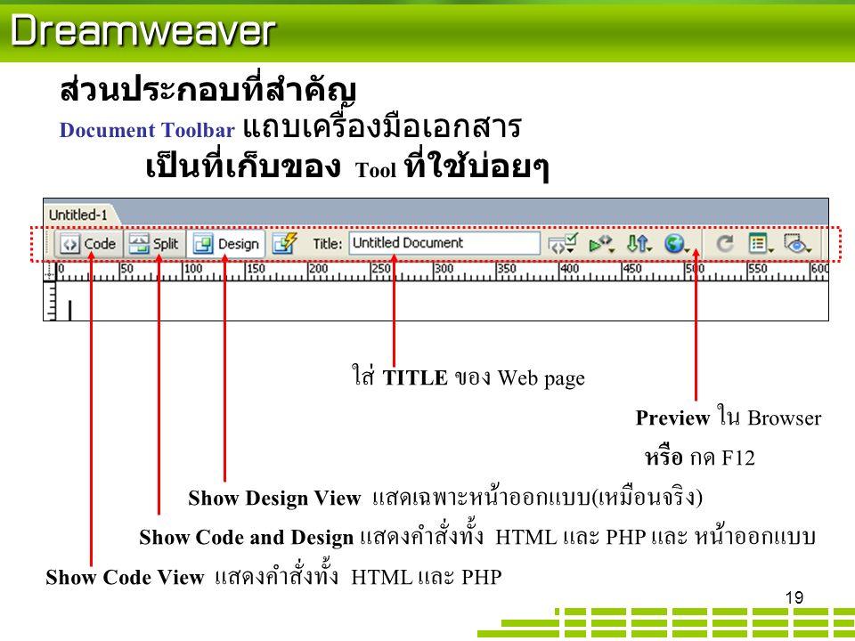 Dreamweaver ส่วนประกอบที่สำคัญ Document Toolbar แถบเครื่องมือเอกสาร เป็นที่เก็บของ Tool ที่ใช้บ่อยๆ ใส่ TITLE ของ Web page Preview ใน Browser หรือ กด F12 Show Design View แสดเฉพาะหน้าออกแบบ(เหมือนจริง) Show Code and Design แสดงคำสั่งทั้ง HTML และ PHP และ หน้าออกแบบ Show Code View แสดงคำสั่งทั้ง HTML และ PHP 19
