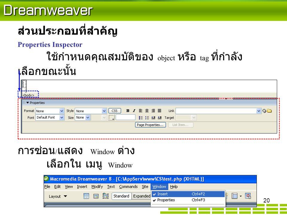 Dreamweaver ส่วนประกอบที่สำคัญ Properties Inspector ใช้กำหนดคุณสมบัติของ object หรือ tag ที่กำลัง เลือกขณะนั้น การซ่อน / แสดง Window ต่าง เลือกใน เมนู Window 20
