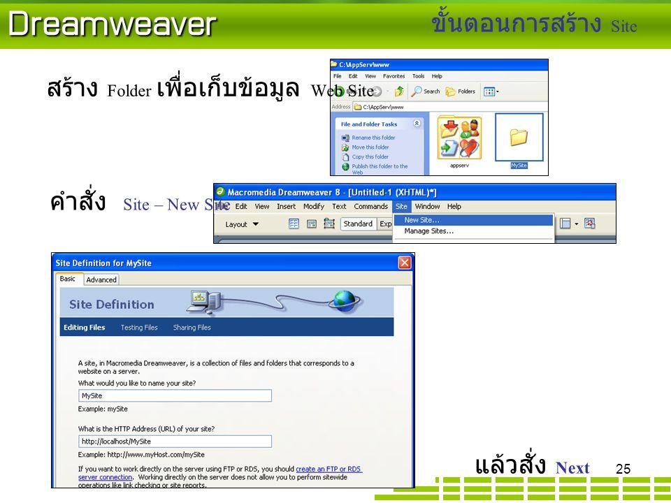 Dreamweaver สร้าง Folder เพื่อเก็บข้อมูล Web Site ขั้นตอนการสร้าง Site แล้วสั่ง Next คำสั่ง Site – New Site 25