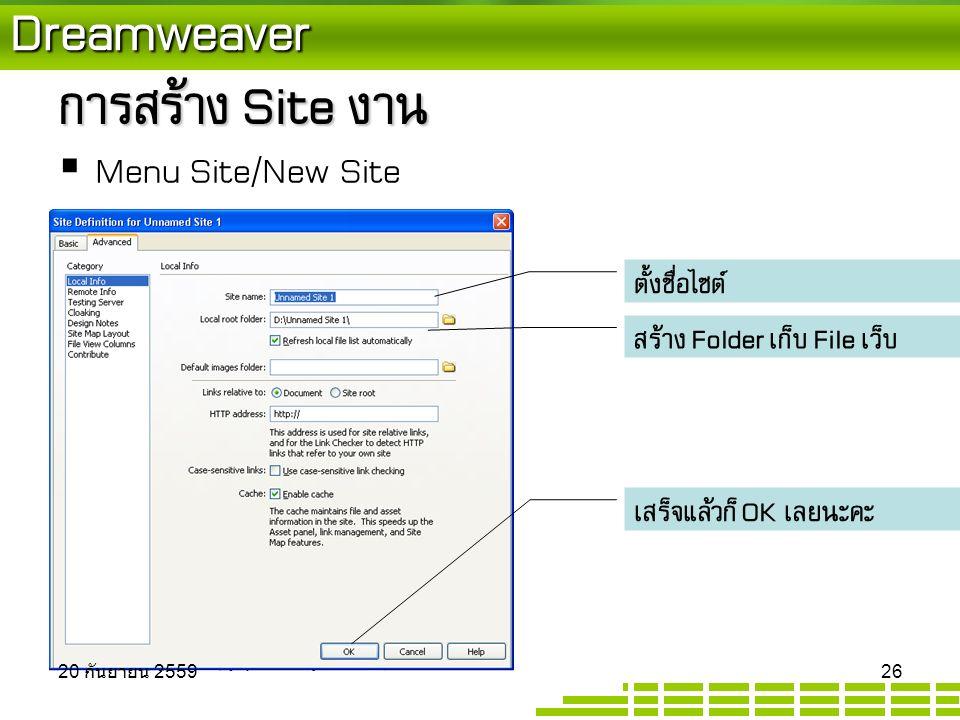 Dreamweaver การสร้าง Site งาน  Menu Site/New Site ตั้งชื่อไซต์ สร้าง Folder เก็บ File เว็บ เสร็จแล้วก็ OK เลยนะคะ 20 กันยายน 2559 20 กันยายน 2559 20 กันยายน 2559 26