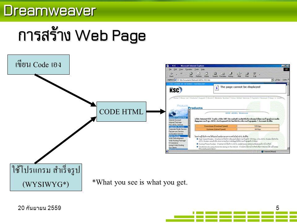 Dreamweaver การสร้าง Web Page CODE HTML เขียน Code เอง ใช้โปรแกรม สำเร็จรูป (WYSIWYG*) *What you see is what you get.