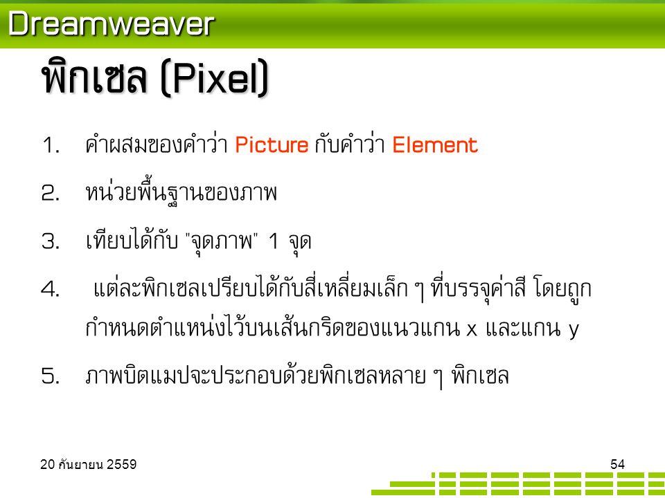 Dreamweaver พิกเซล (Pixel) 1. คำผสมของคำว่า Picture กับคำว่า Element 2.