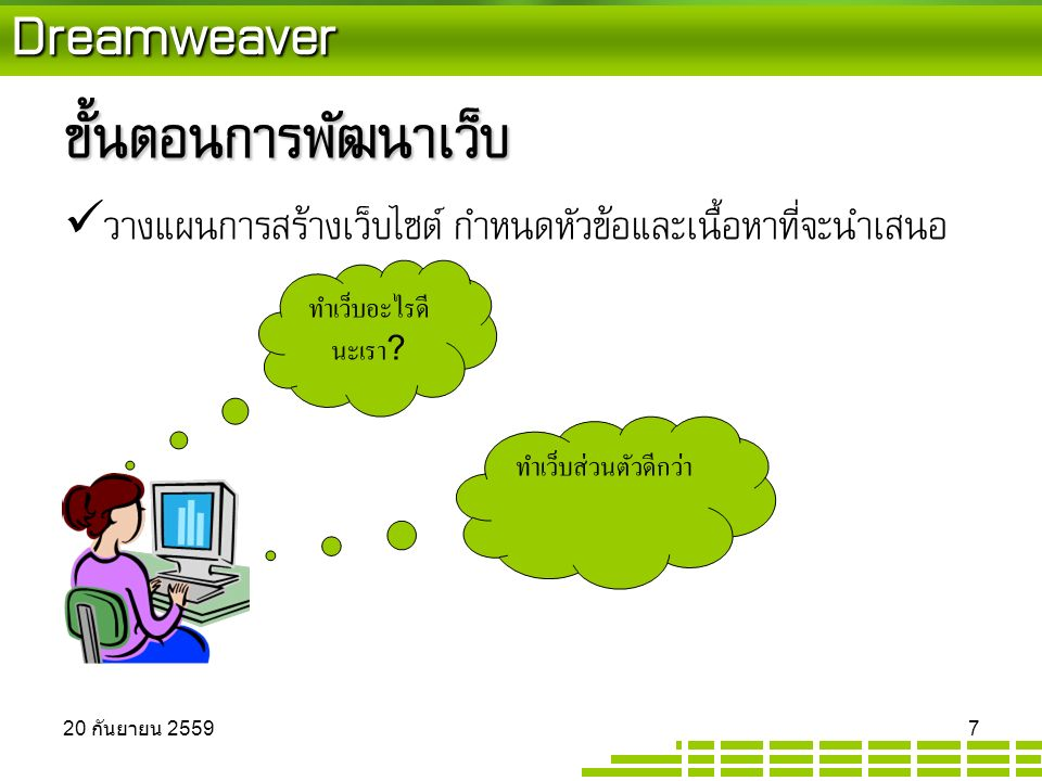 Dreamweaver สร้างไฟล์ตามที่ได้เตรียมไว้ตอนต้น  Click ขวาตามภาพ New File  เพื่อสร้างไฟล์ที่ต้องการ  จะได้ไฟล์นามสกุล.html หรือ.htm 20 กันยายน 2559 20 กันยายน 2559 20 กันยายน 2559 28