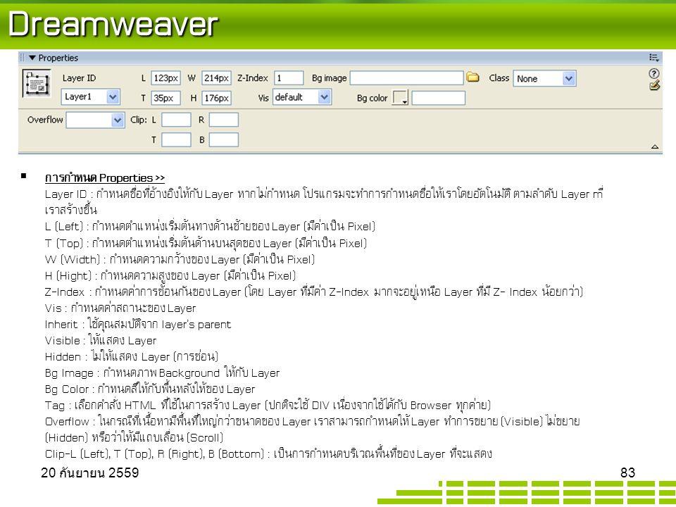 Dreamweaver  การกำหนด Properties >> Layer ID : กำหนดชื่อที่อ้างอิงให้กับ Layer หากไม่กำหนด โปรแกรมจะทำการกำหนดชื่อให้เราโดยอัตโนมัติ ตามลำดับ Layer mี่ เราสร้างขึ้น L (Left) : กำหนดตำแหน่งเริ่มต้นทางด้านซ้ายของ Layer (มีค่าเป็น Pixel) T (Top) : กำหนดตำแหน่งเริ่มต้นด้านบนสุดของ Layer (มีค่าเป็น Pixel) W (Width) : กำหนดความกว้างของ Layer (มีค่าเป็น Pixel) H (Hight) : กำหนดความสูงของ Layer (มีค่าเป็น Pixel) Z-Index : กำหนดค่าการซ้อนกันของ Layer (โดย Layer ที่มีค่า Z-Index มากจะอยู่เหนือ Layer ที่มี Z- Index น้อยกว่า) Vis : กำหนดค่าสถานะของ Layer Inherit : ใช้คุณสมบัติจาก layer's parent Visible : ให้แสดง Layer Hidden : ไม่ให้แสดง Layer (การซ่อน) Bg Image : กำหนดภาพ Background ให้กับ Layer Bg Color : กำหนดสีให้กับพื้นหลังให้ของ Layer Tag : เลือกคำสั่ง HTML ที่ใช้ในการสร้าง Layer (ปกติจะใช้ DIV เนื่องจากใช้ได้กับ Browser ทุกค่าย) Overflow : ในกรณีที่เนื้อหามีพื้นที่ใหญ่กว่าขนาดของ Layer เราสามารถกำหนดให้ Layer ทำการขยาย (Visible) ไม่ขยาย (Hidden) หรือว่าให้มีแถบเลื่อน (Scroll) Clip-L (Left), T (Top), R (Right), B (Bottom) : เป็นการกำหนดบริเวณพื้นที่ของ Layer ที่จะแสดง 20 กันยายน 2559 20 กันยายน 2559 20 กันยายน 2559 83