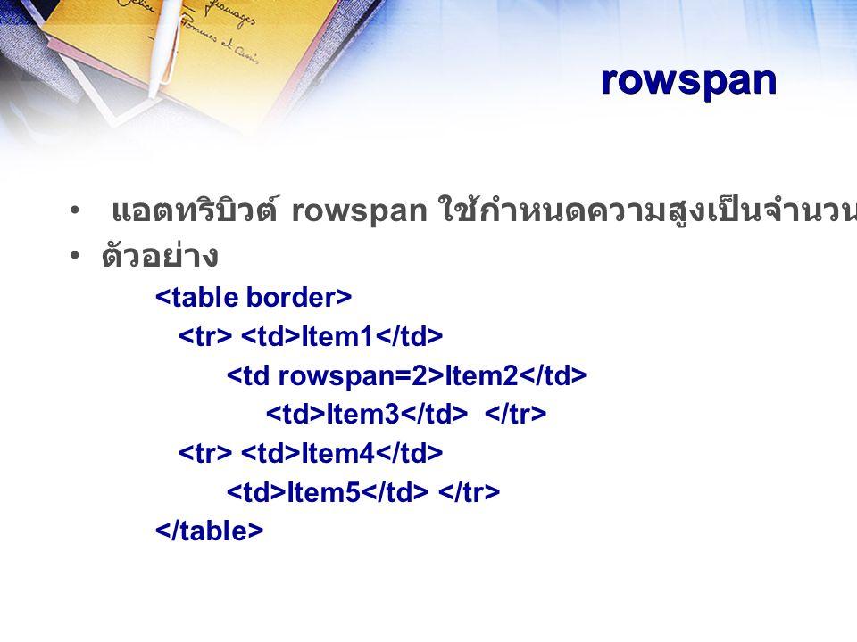 rowspan แอตทริบิวต์ rowspan ใช้กำหนดความสูงเป็นจำนวนเท่าของแถวปกติ ใช้กับ tag ตัวอย่าง Item1 Item2 Item3 Item4 Item5