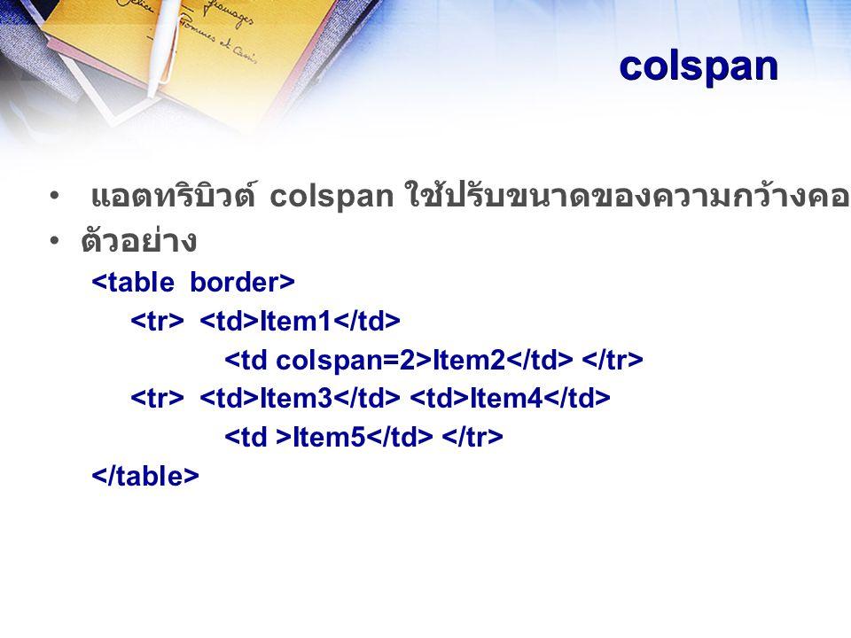 colspan แอตทริบิวต์ colspan ใช้ปรับขนาดของความกว้างคอลัมน์ในตารางให้มีขนาดเป็นจำนวนเท่าของของขนาดความกว้างปกติ ใน tag ตัวอย่าง Item1 Item2 Item3 Item4 Item5