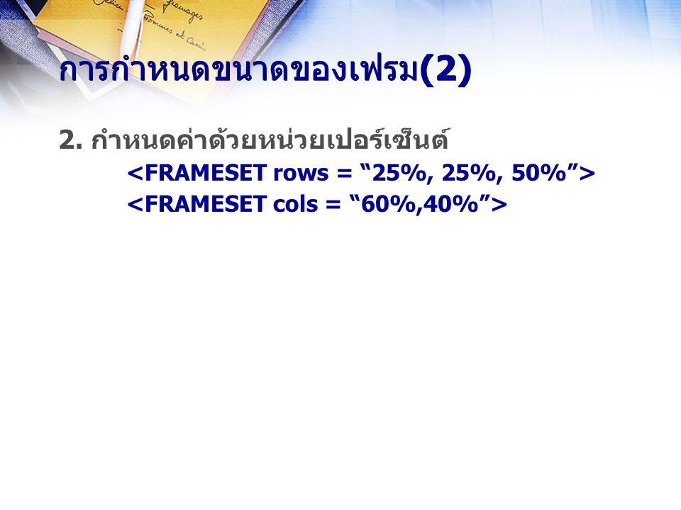 การกำหนดขนาดของเฟรม(2) 2. กำหนดค่าด้วยหน่วยเปอร์เซ็นต์