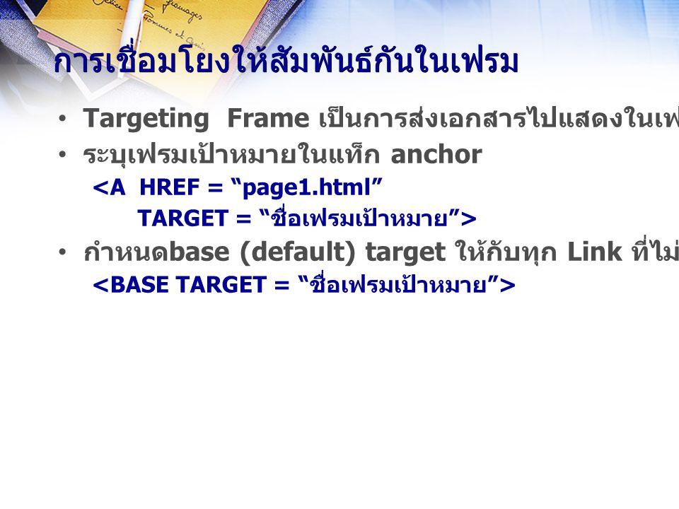 การเชื่อมโยงให้สัมพันธ์กันในเฟรม Targeting Frame เป็นการส่งเอกสารไปแสดงในเฟรมอื่น โดยเฟรมเป้าหมายต้องมีการตั้งชื่อสำหรับอ้างอิง ระบุเฟรมเป้าหมายในแท็ก anchor <A HREF = page1.html TARGET = ชื่อเฟรมเป้าหมาย > กำหนดbase (default) target ให้กับทุก Link ที่ไม่ได้ระบุชื่อ target ด้วยคำสั่ง