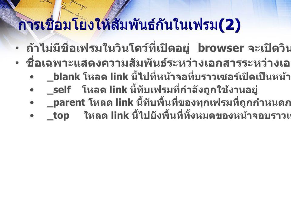การเชื่อมโยงให้สัมพันธ์กันในเฟรม(2) ถ้าไม่มีชื่อเฟรมในวินโดว์ที่เปิดอยู่ browser จะเปิดวินโดว์ใหม่ให้โดยถือว่าเป็นวินโดว์ลูก ชื่อเฉพาะแสดงความสัมพันธ์ระหว่างเอกสารระหว่างเอกสารปัจจุบันกับเอกสารอื่น _blank โหลด link นี้ไปที่หน้าจอที่บราวเซอร์เปิดเป็นหน้าต่างใหม่ _self โหลด link นี้ทับเฟรมที่กำลังถูกใช้งานอยู่ _parent โหลด link นี้ทับพื้นที่ของทุกเฟรมที่ถูกกำหนดภายใต้แท็ก เดียวกันกับเฟรม ที่กำลังถูกใช้งานอยู่ _top ใหลด link นี้ไปยังพื้นที่ทั้งหมดของหน้าจอบราวเซอร์ปัจจุบัน
