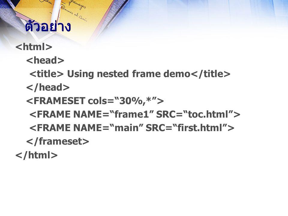 Using nested frame demo ตัวอย่าง