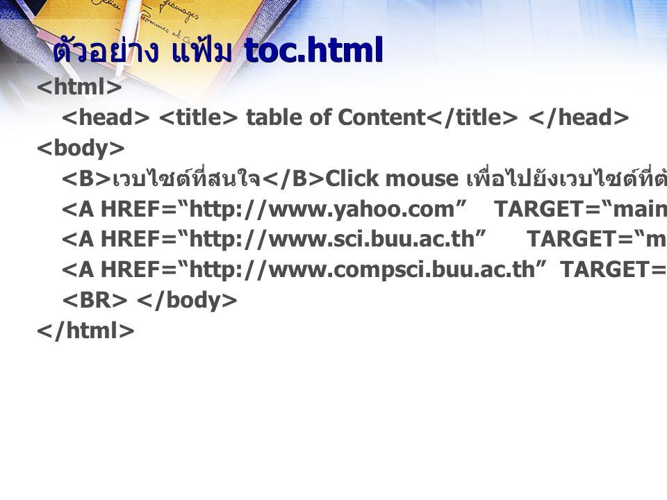 table of Content เวบไซต์ที่สนใจ Click mouse เพื่อไปยังเวบไซต์ที่ต้องการ Yahoo Search Science BUU Computer Science ตัวอย่าง แฟ้ม toc.html