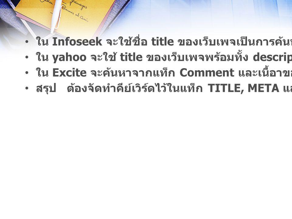 ใน Infoseek จะใช้ชื่อ title ของเว็บเพจเป็นการค้นหาอันดับแรก ใน yahoo จะใช้ title ของเว็บเพจพร้อมทั้ง description ในการค้นหา ใน Excite จะค้นหาจากแท็ก Comment และเนื้อาของเว็บเพจ สรุป ต้องจัดทำคีย์เวิร์ดไว้ในแท็ก TITLE, META และ COMMENT