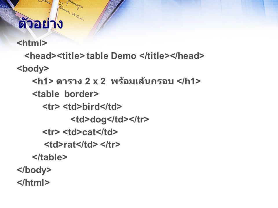 ตัวอย่าง table Demo ตาราง 2 x 2 พร้อมเส้นกรอบ bird dog cat rat