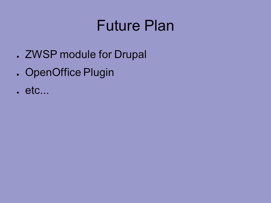 Future Plan ● ZWSP module for Drupal ● OpenOffice Plugin ● etc...