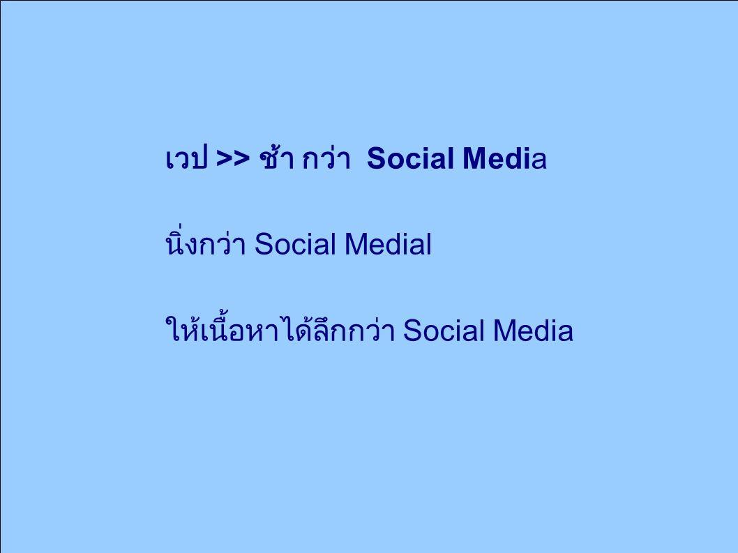 เวป >> ช้า กว่า Social Media นิ่งกว่า Social Medial ให้เนื้อหาได้ลึกกว่า Social Media