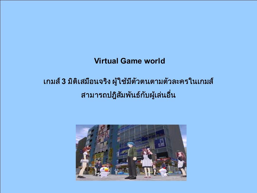 Virtual Game world เกมส์ 3 มิติเสมือนจริง ผู้ใช้มีตัวตนตามตัวละครในเกมส์ สามารถปฎิสัมพันธ์กับผู้เล่นอื่น
