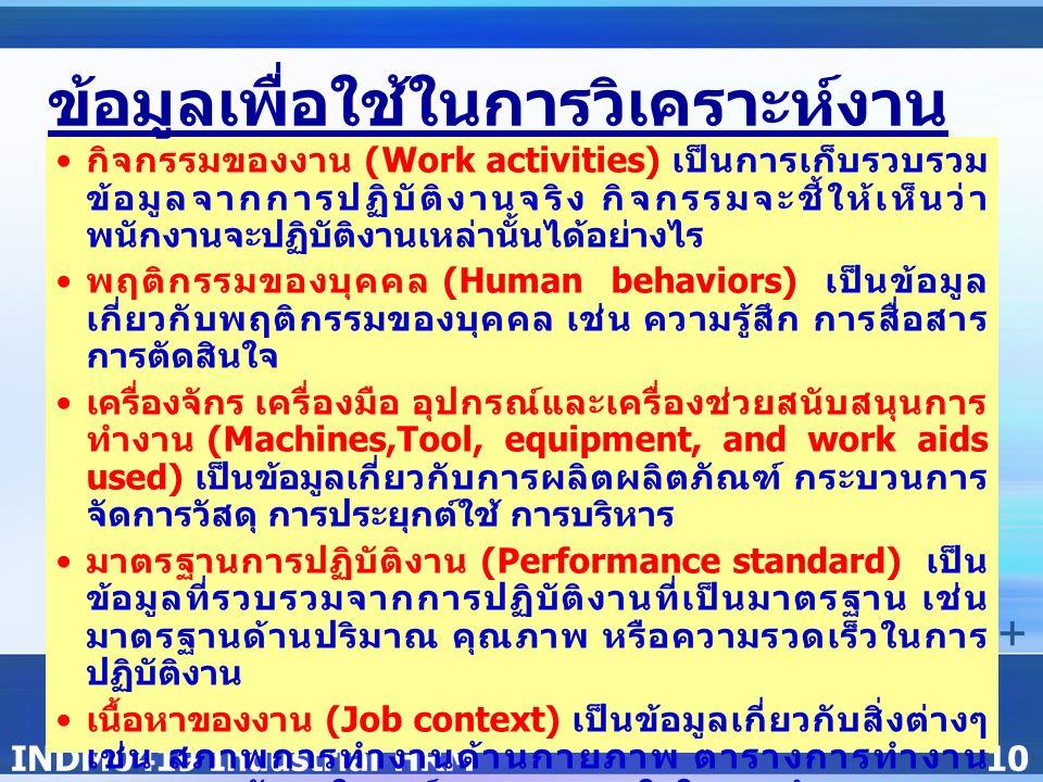 INDM0419 Industrial HRM10 กิจกรรมของงาน (Work activities) เป็นการเก็บรวบรวม ข้อมูลจากการปฏิบัติงานจริง กิจกรรมจะชี้ให้เห็นว่า พนักงานจะปฏิบัติงานเหล่านั้นได้อย่างไร พฤติกรรมของบุคคล (Human behaviors) เป็นข้อมูล เกี่ยวกับพฤติกรรมของบุคคล เช่น ความรู้สึก การสื่อสาร การตัดสินใจ เครื่องจักร เครื่องมือ อุปกรณ์และเครื่องช่วยสนับสนุนการ ทำงาน (Machines,Tool, equipment, and work aids used) เป็นข้อมูลเกี่ยวกับการผลิตผลิตภัณฑ์ กระบวนการ จัดการวัสดุ การประยุกต์ใช้ การบริหาร มาตรฐานการปฏิบัติงาน (Performance standard) เป็น ข้อมูลที่รวบรวมจากการปฏิบัติงานที่เป็นมาตรฐาน เช่น มาตรฐานด้านปริมาณ คุณภาพ หรือความรวดเร็วในการ ปฏิบัติงาน เนื้อหาของงาน (Job context) เป็นข้อมูลเกี่ยวกับสิ่งต่างๆ เช่น สภาพการทำงานด้านกายภาพ ตารางการทำงาน สภาพของสังคมในองค์กรและแรงจูงใจในการทำงาน ความต้องการบุคลากร (Personel requirements) เป็น ข้อมูลที่ชี้ให้เห็นถึงความต้องการบุคลากรในการปฏิบัติงาน เช่น งานที่เกี่ยวข้องกับความรู้ หรือทักษะ ที่เกิดจาก การศึกษา การฝึกอบรม ประสบการณ์ในการทำงาน และ คุณลักษณะของบุคคล ข้อมูลเพื่อใช้ในการวิเคราะห์งาน