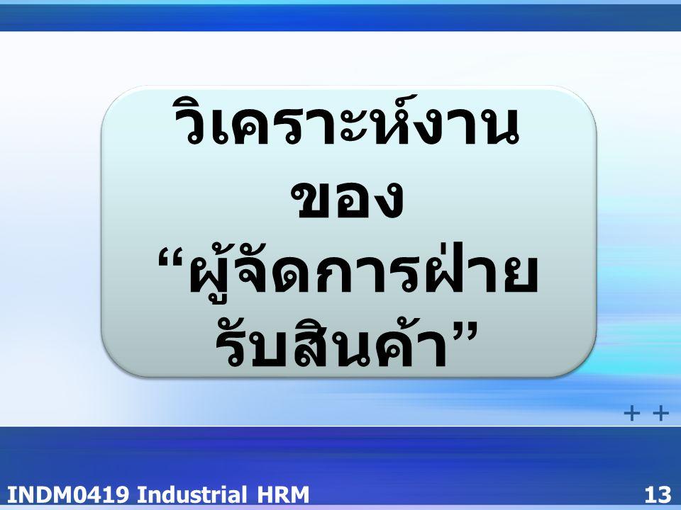 INDM0419 Industrial HRM13 วิเคราะห์งาน ของ ผู้จัดการฝ่าย รับสินค้า วิเคราะห์งาน ของ ผู้จัดการฝ่าย รับสินค้า