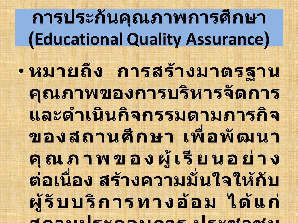 การประกันคุณภาพการศึกษา (Educational Quality Assurance) หมายถึง การสร้างมาตรฐาน คุณภาพของการบริหารจัดการ และดำเนินกิจกรรมตามภารกิจ ของสถานศึกษา เพื่อพ