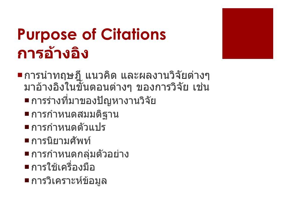 Purpose of Citations การอ้างอิง  การนำทฤษฎี แนวคิด และผลงานวิจัยต่างๆ มาอ้างอิงในขั้นตอนต่างๆ ของการวิจัย เช่น  การร่างที่มาของปัญหางานวิจัย  การกำหนดสมมติฐาน  การกำหนดตัวแปร  การนิยามศัพท์  การกำหนดกลุ่มตัวอย่าง  การใช้เครื่องมือ  การวิเคราะห์ข้อมูล