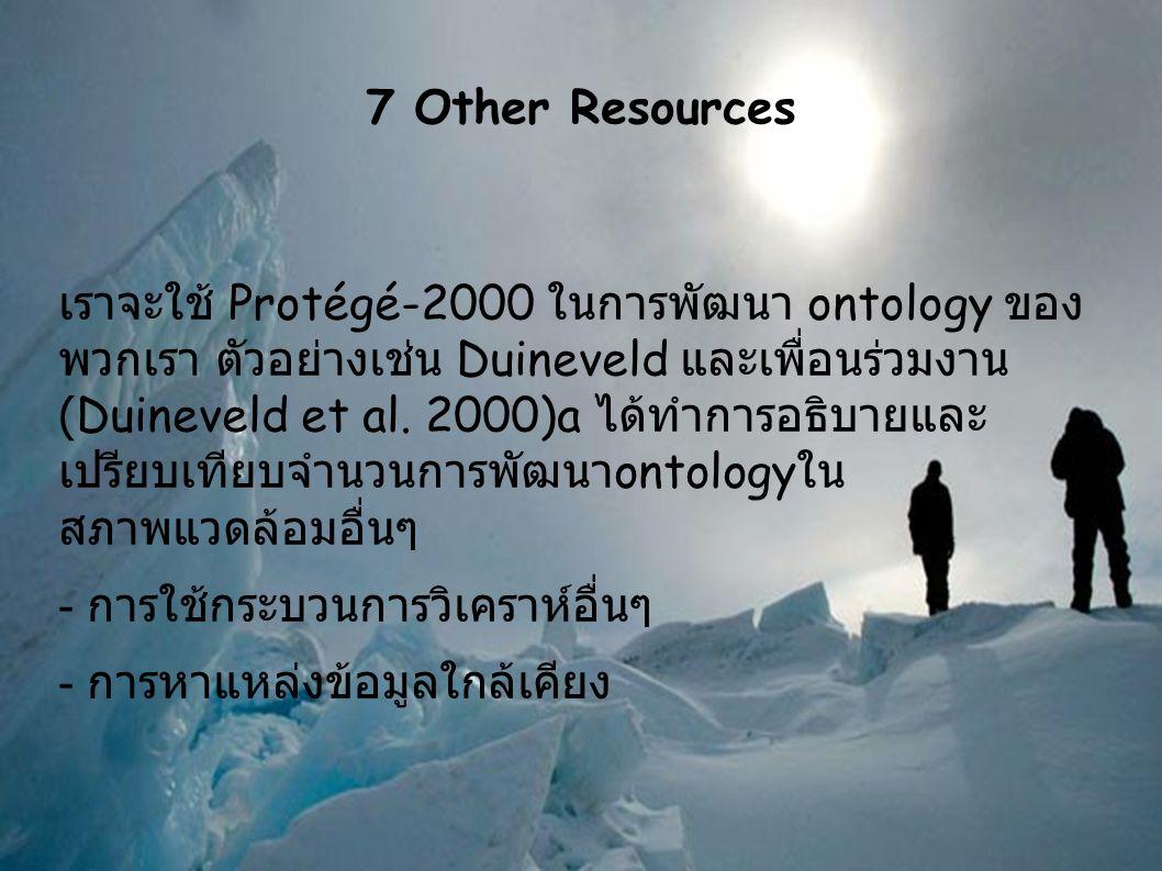 7 Other Resources เราจะใช้ Protégé-2000 ในการพัฒนา ontology ของ พวกเรา ตัวอย่างเช่น Duineveld และเพื่อนร่วมงาน (Duineveld et al.