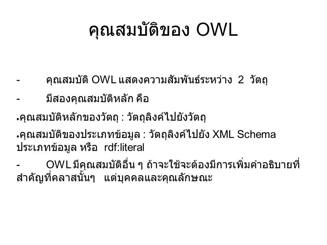 คุณสมบัติของ OWL - คุณสมบัติ OWL แสดงความสัมพันธ์ระหว่าง 2 วัตถุ - มีสองคุณสมบัติหลัก คือ ● คุณสมบัติหลักของวัตถุ : วัตถุลิงค์ไปยังวัตถุ ● คุณสมบัติขอ