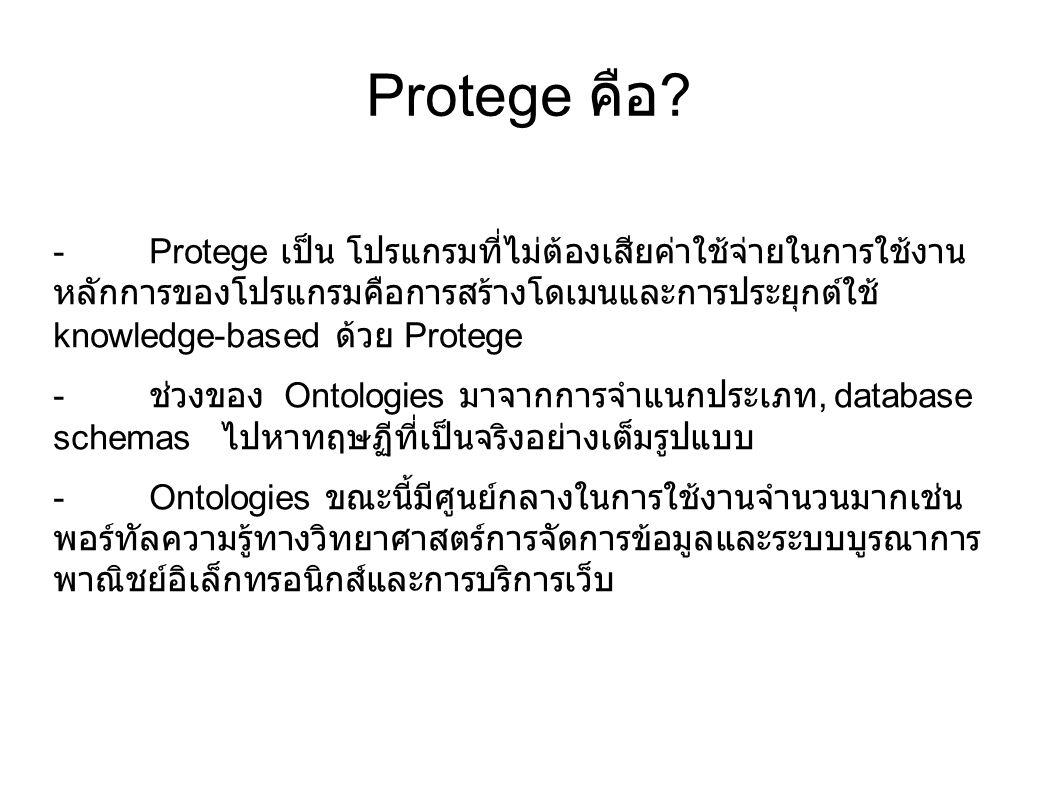 Protege คือ ? -Protege เป็น โปรแกรมที่ไม่ต้องเสียค่าใช้จ่ายในการใช้งาน หลักการของโปรแกรมคือการสร้างโดเมนและการประยุกต์ใช้ knowledge-based ด้วย Protege