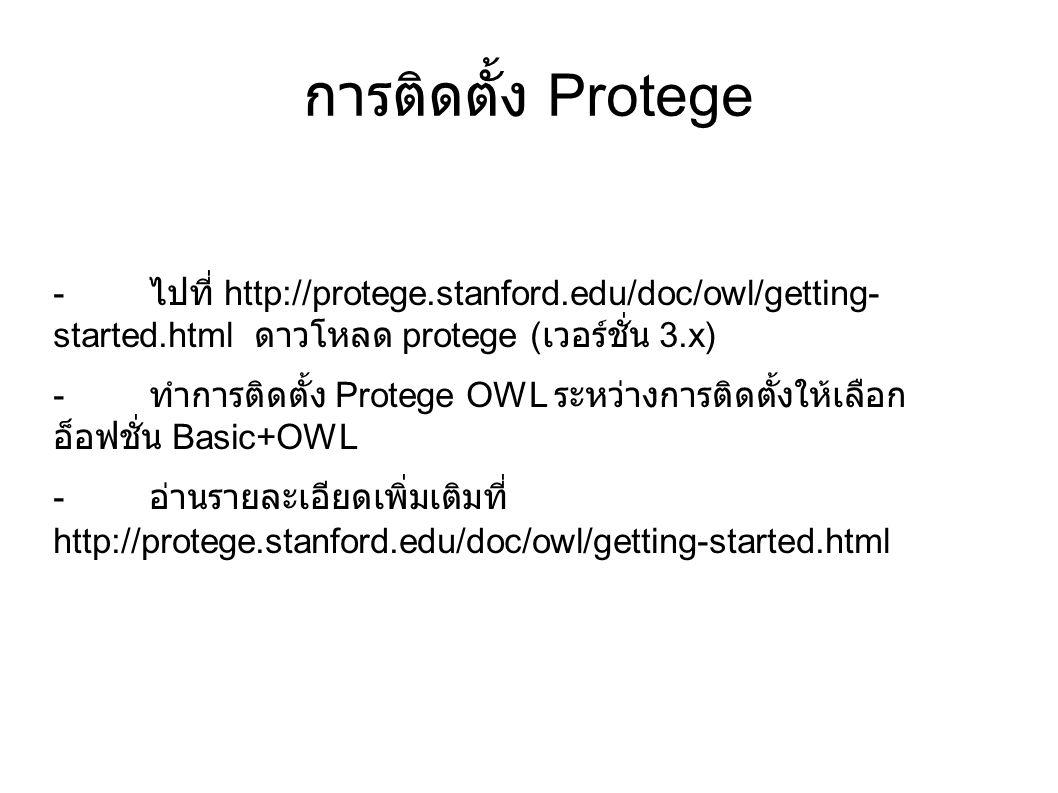 การติดตั้ง Protege - ไปที่ http://protege.stanford.edu/doc/owl/getting- started.html ดาวโหลด protege ( เวอร์ชั่น 3.x) - ทำการติดตั้ง Protege OWL ระหว่
