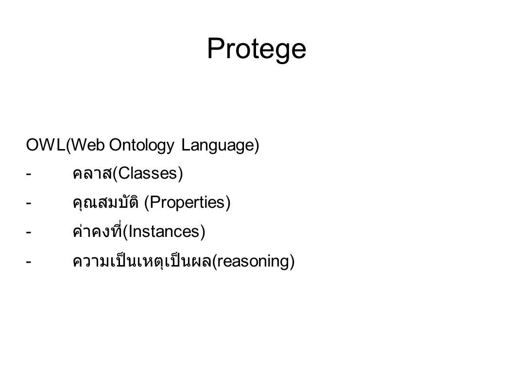 Protege OWL(Web Ontology Language) - คลาส (Classes) - คุณสมบัติ (Properties) - ค่าคงที่ (Instances) - ความเป็นเหตุเป็นผล (reasoning)