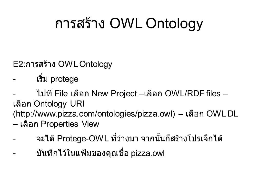 การสร้าง OWL Ontology E2: การสร้าง OWL Ontology - เริ่ม protege - ไปที่ File เลือก New Project – เลือก OWL/RDF files – เลือก Ontology URI (http://www.