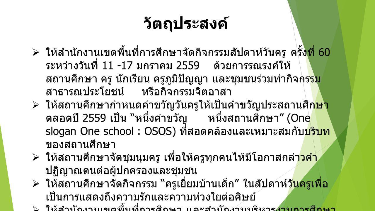 วัตถุประสงค์  ให้สำนักงานเขตพื้นที่การศึกษาจัดกิจกรรมสัปดาห์วันครู ครั้งที่ 60 ระหว่างวันที่ 11 -17 มกราคม 2559 ด้วยการรณรงค์ให้ สถานศึกษา ครู นักเรียน ครูภูมิปัญญา และชุมชนร่วมทำกิจกรรม สาธารณประโยชน์ หรือกิจกรรมจิตอาสา  ให้สถานศึกษากำหนดคำขวัญวันครูให้เป็นคำขวัญประสถานศึกษา ตลอดปี 2559 เป็น หนึ่งคำขวัญ หนึ่งสถานศึกษา (One slogan One school : OSOS) ที่สอดคล้องและเหมาะสมกับบริบท ของสถานศึกษา  ให้สถานศึกษาจัดชุมนุมครู เพื่อให้ครูทุกคนไห้มีโอกาสกล่าวคำ ปฏิญาณตนต่อผู้ปกครองและชุมชน  ให้สถานศึกษาจัดกิจกรรม ครูเยี่ยมบ้านเด็ก ในสัปดาห์วันครูเพื่อ เป็นการแสดงถึงความรักและความห่วงใยต่อศิษย์  ให้สำนักงานเขตพื้นที่การศึกษา และสำนักงานบริหารงานการศึกษา พิเศษ รายงานผลการปฏิบัติดังกล่าว ถึงสำนักงานคณะกรรมการ การศึกษาขั้นพื้นฐาน ภายในวัน 10 หลังจากกิจกรรมวันครูแล้วเสร็จ