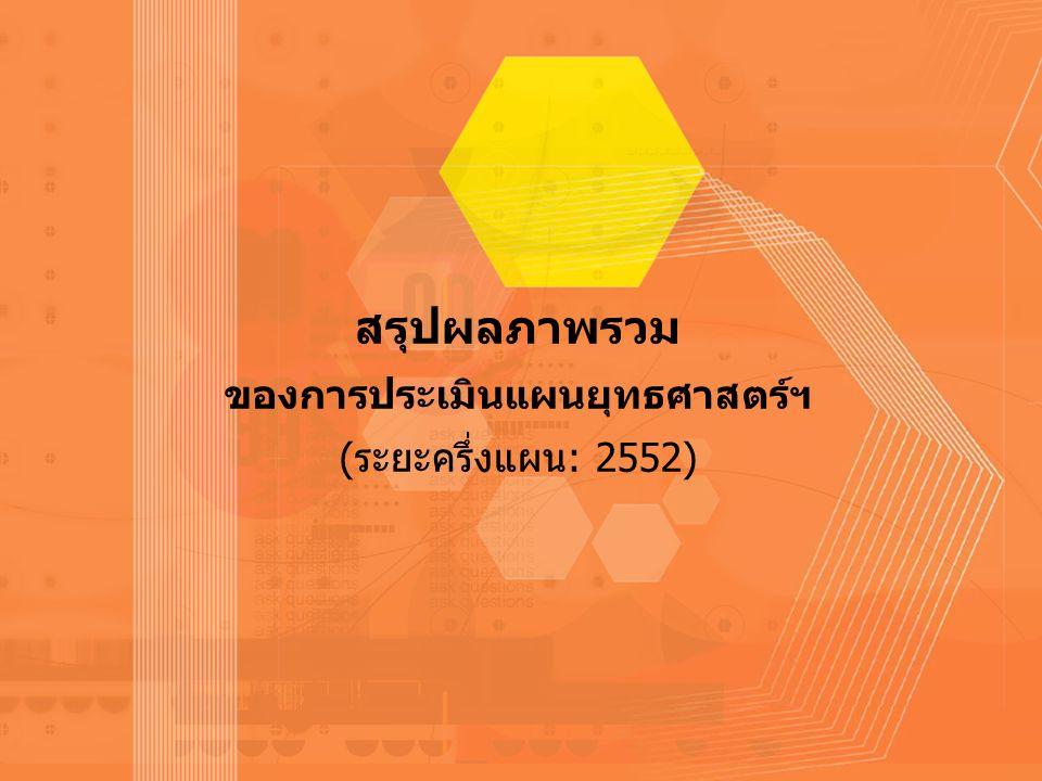 -26- สรุปผลภาพรวม ของการประเมินแผนยุทธศาสตร์ฯ (ระยะครึ่งแผน: 2552)