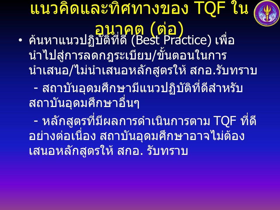 แนวคิดและทิศทางของ TQF ในอนาคต ( ต่อ ) ค้นหาแนวปฏิบัติที่ดี (Best Practice) เพื่อ นำไปสู่การลดกฎระเบียบ / ขั้นตอนในการ นำเสนอ / ไม่นำเสนอหลักสูตรให้ สกอ.